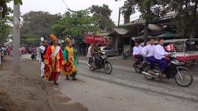 People on street in Mandalay, Myanmar stock video