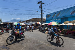 People in a street market in the colonial city of Granada, Nicaragua Stock Images