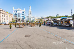 People and street market on Kontraktova Square Royalty Free Stock Photos