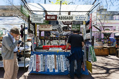 People in a street market in the San Telmo neighborhood in the city of Buenos Aires Royalty Free Stock Photos