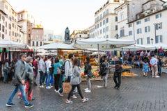 People on street market on square Campo de Fiori Stock Image
