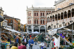 People on street market on square in Padua town Royalty Free Stock Images