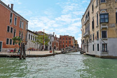 People on the street near bridge in Venice, Italy Royalty Free Stock Photo