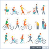 People on the street. Neighbors. Activities. Isolated vector illustrations. Flat icon set Royalty Free Stock Photography