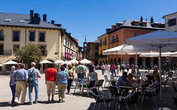 People at street of old Ponferrada Royalty Free Stock Image