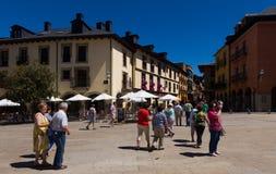 People at street of old Ponferrada. Spain Stock Image