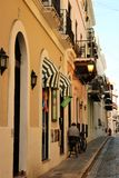 Old San Juan, Puerto Rico. People on a street in Old San Juan, the capital of a US territory of Puerto Rico. San Juan is a popular cruise port royalty free stock image