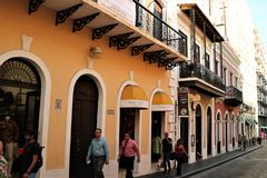 Old San Juan, Puerto Rico. People on a street in Old San Juan, the capital of a US territory of Puerto Rico. San Juan is a popular cruise port stock photos