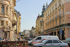 People on street in the Old Town of Lviv, Ukraine Stock Image