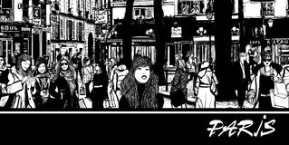 People in a street of Paris stock illustration
