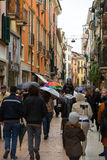 People on the street on a rainy day, Verona Stock Image