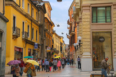 People in the street on a rainy day, Verona Italy Stock Photo