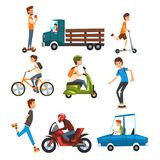 People on the street set, various vehicles cartoon vector Illustration on a white background vector illustration