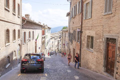 people on a street of Urbino Royalty Free Stock Photos