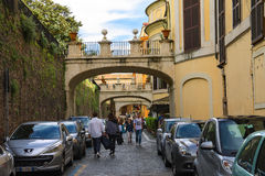 People on the street Via della Pilotta in Rome, Italy Stock Photography
