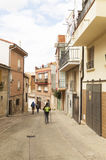People on the street of Viana city, road to Santiago de Compostela, Navarre, Spain Stock Photos