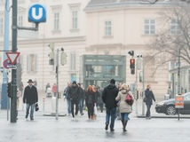 People on street of Vienna, Austria, Europe. Stock Images