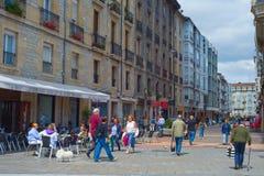 People street  Vitoria-Gasteiz Spain. VITORIA-GASTEIZ, SPAIN - AUGUST 11, 2017: People  at the center street of Vitoria-Gasteiz. Vitoria-Gasteiz is the famous Royalty Free Stock Photography