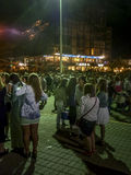 People at the Street Waiting for New Year in Pinamar Royalty Free Stock Photo