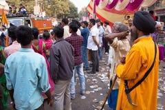 People in the street watching Guru Nanak Gurpurab celebration in Stock Image