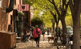 People on the street on a weekend morning in Brooklyn New York C Royalty Free Stock Images