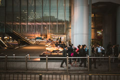 People on street after work in Hong Kong. March, 2017. People on street after work in Hong Kong Royalty Free Stock Photo