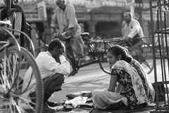 People in the streets of India. Work, play and survival Stock Photo