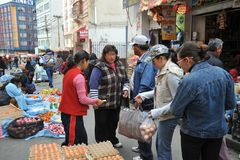 The people on the streets of La Paz city. Royalty Free Stock Photos