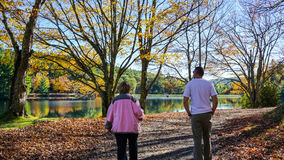 People Stroll Around Bass Lake North Carolina Royalty Free Stock Photos