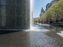People stroll past Crown Fountain, Millennium Park, Chicago Royalty Free Stock Images