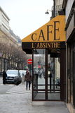 People strolling by Cafe L'Absinthe,Paris,France,2016 Royalty Free Stock Images