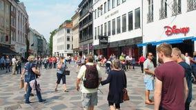 People strolling in downtown Copenhagen Denmark stock video