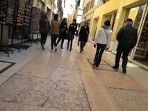 People strolling in the streets of Verona city centre Royalty Free Stock Photo