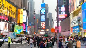 People strolling at Times Square. New York City, USA - April 2018: People strolling at Times Square stock footage