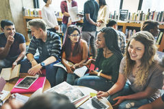 People Students Friendship Library Education School Concept Stock Image