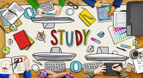 People and Study Concept with Photo Illustrations Stock Photo