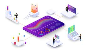 People study dynamic processes in graphs and diagrams. 3d isometric infographics. ESP 10 stock illustration