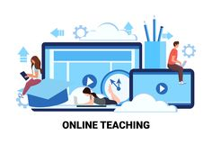 People studying computer application training courses education online teaching business concept man woman students Stock Illustration