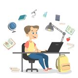People studying illustration. Boy doing homework on white Royalty Free Stock Image