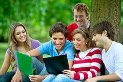People studying outdoors Stock Image