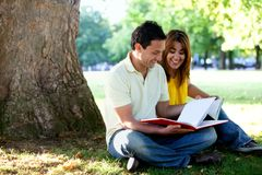 People studying outdoors Royalty Free Stock Photo