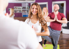 People studying position at yoga Stock Photos