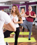 People studying position at yoga Royalty Free Stock Image