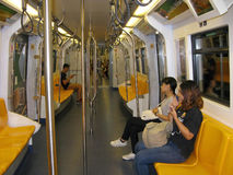People in subway car Stock Photo