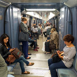 People are in a subway car in Paris Royalty Free Stock Images