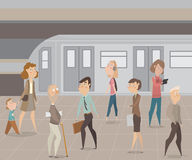 People in subway. Funny cartoon characters. Royalty Free Stock Photos