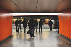 People on Subway Platform Royalty Free Stock Images