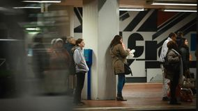 People on subway platform waiting the train. Germany stock footage