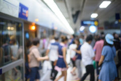 People on subway station blur motion Stock Photo