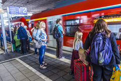 People at the subway station Messe in Frankfurt am Main Royalty Free Stock Image